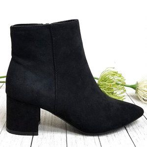 Ne Black Chunky Heel Point Toe Booties Boots